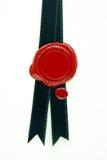 черный красный воск уплотнения тесемки Стоковые Изображения