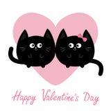 Черный круглый значок семьи пар кота Розовое сердце Милый смешной персонаж из мультфильма день карточки приветствуя счастливые va Стоковые Фотографии RF