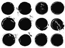 Черный круг grunge брызгает Стоковые Фотографии RF