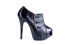 Черный классический женский ботинок Стоковое фото RF