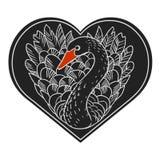 Черный лебедь Иллюстрация вектора нарисованная рукой Иллюстрация штока