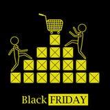 Черный логотип значка концепции продаж пятницы горячий с коробками и черная предпосылка иллюстрация вектора