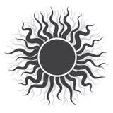 Черный логотип Солнця в иллюстрации вектора Стоковая Фотография RF