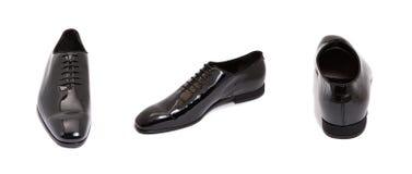 черный лоснистый кожаный ботинок людей Стоковые Изображения