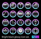 черный лоснистый комплект иконы 2 Стоковые Изображения