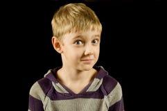 черный мальчик изолировал удивлено Стоковое Фото