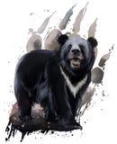 Черный медведь с белым комодом иллюстрация штока