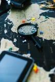 черный мир карты Натюрморт путешественника Стоковое Изображение RF