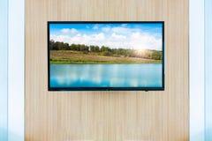 Черный модель-макет экрана телевизора ТВ СИД Ландшафт на мониторе стоковые фото
