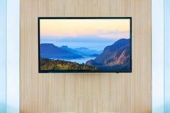 Черный модель-макет экрана телевизора ТВ СИД Ландшафт на мониторе Стоковые Фотографии RF