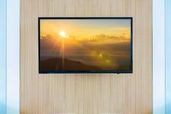 Черный модель-макет экрана телевизора ТВ СИД Ландшафт на мониторе стоковое изображение