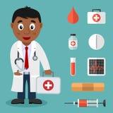 Черный мужской доктор и плоские медицинские значки иллюстрация вектора