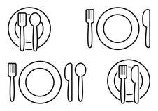 Черный набор столового прибора Вилка, ложка, нож и плита r бесплатная иллюстрация