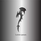 Черный логотип дракона тени Стоковые Фото
