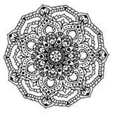 Черный орнамент мандалы с цветками Стоковое Фото