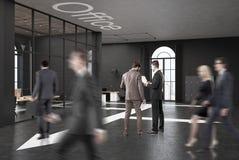 Черный офис открытого пространства кирпича, люди Стоковое Фото