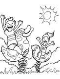 черный парк малышей играя езды белые Стоковое Фото