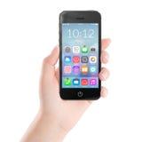 Черный передвижной умный телефон с красочными значками применения на стоковая фотография rf