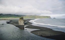 Черный песчаный пляж Стоковые Фото
