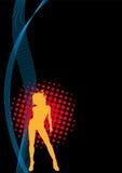 черный плакат партии девушки рогульки диско клуба Стоковые Фотографии RF