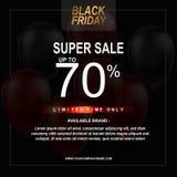 Черный плакат продажи пятницы с предпосылкой воздушных шаров с квадратной рамкой Шаблон иллюстрации вектора бесплатная иллюстрация