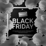 Черный плакат продажи пятницы с черно-белым дымом на черной предпосылке с квадратной рамкой также вектор иллюстрации притяжки cor Стоковые Фото