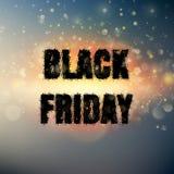 Черный плакат пятницы с светами bokeh Вектор EPS 10 Стоковое Изображение
