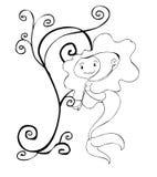 черный покрашенный mermaid белым Стоковые Фото