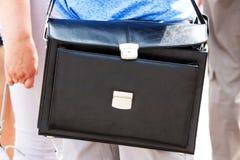 Черный портфель кожи Стоковые Изображения RF