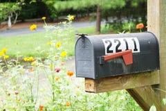 Черный почтовый ящик окруженный по своей природе Стоковые Фотографии RF
