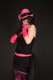 черный представлять шлема девушки платья Стоковые Фото