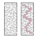 Черный прямоугольный лабиринт с входным сигналом и выходом Интересная и полезная игра для детей Простое плоское illustratio векто иллюстрация штока