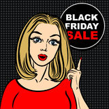 Черный пузырь продажи пятницы и женщина искусства шипучки для того чтобы указать палец Стоковое Изображение RF