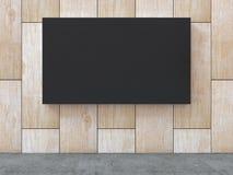 Черный пустой холст на деревянной стене картины с конкретной предпосылкой пола перевод 3d Стоковое Изображение RF