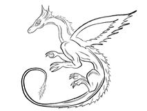 Черный дракон над белизной Стоковые Изображения RF