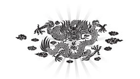 Черный дракон с облаком и линией китайцем видеоматериал