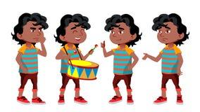 Черный, ребенк детского сада мальчика Афро американский представляет установленный вектор Играть характера ребяческо Вскользь оде иллюстрация штока