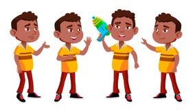 Черный, ребенк детского сада мальчика Афро американский представляет установленный вектор preschool Молодой человек жизнерадостно иллюстрация штока