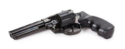 Черный револьвер на белой предпосылке Стоковые Изображения