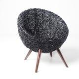 Черный ретро стул Wicker Стоковая Фотография