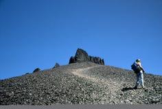 черный рожочок hiker к бивню Стоковая Фотография RF