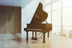 Черный рояль в белом и деревянном toend комнаты иллюстрация вектора