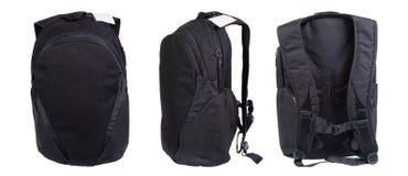 Черный рюкзак изолированный на белизне Съемки студии продукта Стоковые Изображения