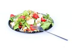черный салат плиты вилки цезаря Стоковые Фотографии RF