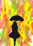 Черный силуэт девушки с зонтиком на абстрактной предпосылке Стоковые Изображения RF