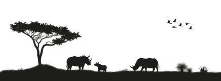 Черный силуэт носорогов и деревьев в саванне животные Африки африканский ландшафт Панорама одичалой природы иллюстрация штока