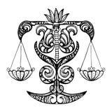 Черный силуэт Libra, знака зодиака на белой предпосылке Стоковые Фотографии RF