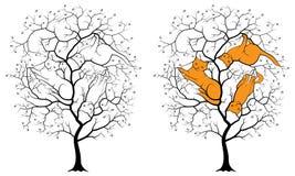 Черный силуэт дерева на белой предпосылке, среди контуров спрятанных ветвями 3 котов Стоковое Изображение RF