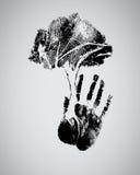 Черный силуэт дерева на handprint иллюстрация штока