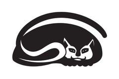 Черный силуэт кота на белой предпосылке Стилизованное творческое декоративное изображение Стоковое фото RF
